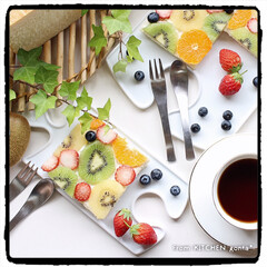 おうちカフェ/インスタ映え/Instagram/ブルーベリー/オレンジ/いちご/... ゼスプリキウイ🥝de水玉模様のオープンプ…