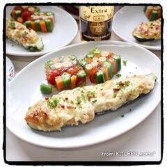 アメブロやってます/Instagramやってます/Twitterやってます/コーンスープ/テリーヌ/夏野菜のゼリー寄せ/... ズッキーニボートand夏野菜のゼリー寄せ…