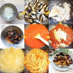 スパゲティ/パスタ/パスタレシピ/お昼ごはん/ランチ/トマトソース/... コストコでgetした冷凍ムール貝で作る✨…(2枚目)
