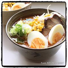 ゆで卵はビストロで調理/パナソニックビストロ/定番化/手作りラーメン/ラーメン/味噌ラーメン/... 味噌ラーメン🍜  おはようございます…