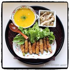オーブンレンジ/レンチンレシピ/コストコ/簡単/キノコのマリネ/かぼちゃのスープ/... アスパラガスの肉巻き🥓withかぼちゃの…