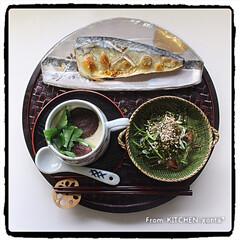 和食器好きなの人と繋がりたい/和食器大好き/たち吉/藍胎漆器/豆苗のおひたし/茶碗蒸し/... 塩サバと茶碗蒸し de 和御膳プレート♬…