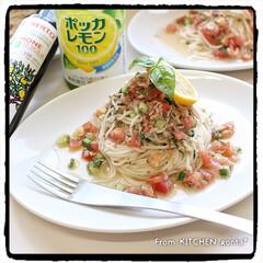 ポッカサッポロフード&ビバレッジ ポッカレモン100 450ml(その他酢)を使ったクチコミ「ひやむぎ(素麺)deイタリアン🇮🇹 …」