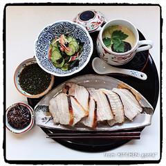 和ンプレート/和御膳/きゅうりの酢の物/茶碗蒸し/豚バラグリル/パナソニックビストロ/... 豚バラグリル🐖with茶碗蒸し  お…