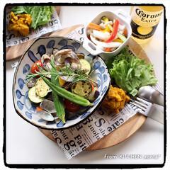 ワンプレートごはん/ディナープレート/料理好きな人と繋がりたい/かぼちゃのサラダ/ピクルス/夏野菜のアクアパッツァ風/... 夏野菜のアクアパッツァ風toかぼちゃのサ…