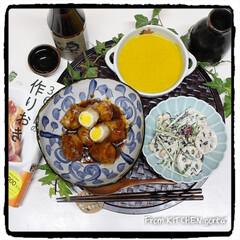 料理好きな人と繋がりたい/器好きな人と繋がりたい/和食器好き/和食器のある暮らし/かぼちゃのスープ/れんこんサラダ/... うずらの肉巻き『365日の作りおき』よ…