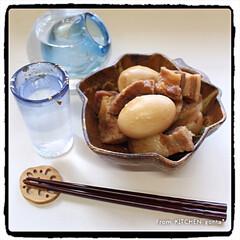 ヤマサレシピ/ビストロ/レンチンレシピ/レンチン/豚の角煮/美濃焼/... レンチンde作る豚の角煮🐷with冷酒🍶…