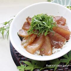 キハダまぐろ/漬け丼のタレ/漬け丼/素敵な丼鉢が欲しい/食器好きな人と繋がりたい/料理好きな人と繋がりたい/... キハダまぐろ🐟の漬け丼🇯🇵  おはよ…(1枚目)