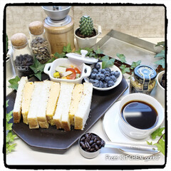 コーヒーのある暮らし/自家焙煎珈琲/コーヒー/珈琲焙煎機/ホンジュラス🇭🇳コマヤグア•スムー.../おうちロースタリー/... 厚焼きたまごのサンドイッチ🥪とThe R…