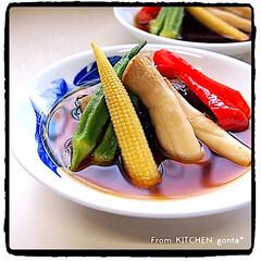 お気に入りの器/和食器/深川ブルー/有田焼/深川製磁/日本食/... 夏野菜の揚げ浸し🍆  おはようござい…