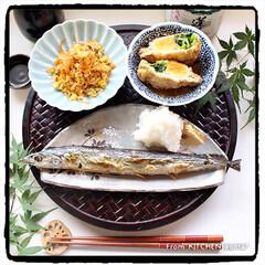 器好きな人と繋がりたい/深川製磁/たち吉/料理好きな人と繋がりたい/簡単レシピ/マイrecipe/... 秋刀魚の塩焼き🐟with卵巾着🥚de和御…