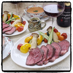 夏野菜/ガスパチョ/焼き野菜/ローストビーフ/マイrecipe/Nadiaレシピ/... 湯煎で簡単★ローストビーフ🥩with…