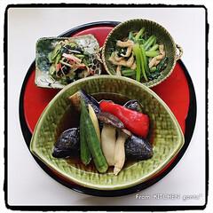 和食器好き/和食器/織部焼/片付かない/断捨離中/和定食/... 野菜の揚げ浸しde和ンプレートごはん🥢…