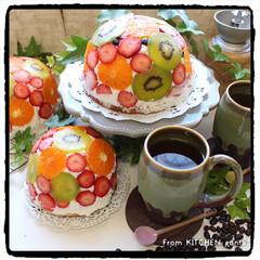 おうちカフェ/キウイフルーツ/ゼスプリ/水玉ケーキ/ドームケーキ/マイrecipe/...  ハマってる⁈😅フルーツたっぷり🍓水玉ケ…