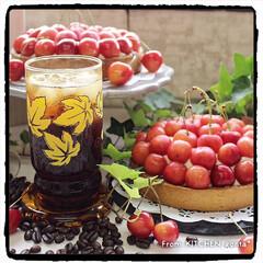 アイスコーヒー/コーヒー焙煎機/タルト/さくらんぼタルト/The Roastアンバサダー/The Roast/... さくらんぼ🍒のタルトwith美味しいアイ…