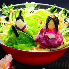 おうちごはん/ミルフィーユ鍋/ひな祭り/キッチン/ピンク 豚バラ&白菜のミルフィーユ鍋DEひな祭り🎎
