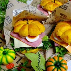 ランチ/お弁当/ハロウィン/ハロウィンバーガー/かぼちゃパン/かぼちゃバーガー/... ハロウィンのかぼちゃバーガー