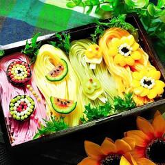 デコ麺/そうめん弁当/令和の一枚/フォロー大歓迎/お弁当/至福のひととき/... デコ麺✺⋆*🍉🍦🌻