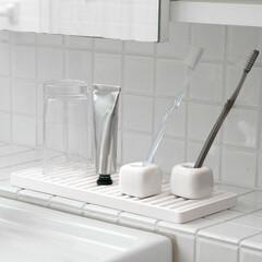 珪藻土/家事/掃除/シンプル/ホワイト/洗面台/... 洗面台もこれでスッキリ♪ヌメリも軽減◎ …(1枚目)