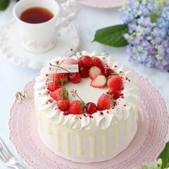 ショートケーキ/さくらんぼ/お菓子作り/STRAWBERRY/cake/Cafe/... 🍓デコレーションケーキ  この時季の貴重…(1枚目)