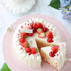 ショートケーキ/さくらんぼ/お菓子作り/STRAWBERRY/cake/Cafe/... 🍓デコレーションケーキ  この時季の貴重…(4枚目)