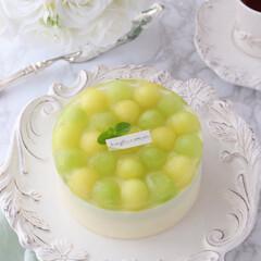 ひんやりスイーツ/melon/cake/Cafe/萌え断/ムースケーキ/... 🍈メロンムースケーキ  今年もメロンの美…(2枚目)