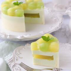 ひんやりスイーツ/melon/cake/Cafe/萌え断/ムースケーキ/... 🍈メロンムースケーキ  今年もメロンの美…(3枚目)