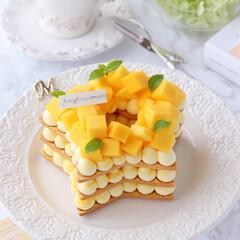 mango/手作りタルト/星型/マンゴータルト/クッキータルト/タルト/... ⭐️星型マンゴークッキーケーキ  フレッ…(1枚目)