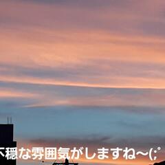 地震が起きそうな予感の雲だにゃん🐱 8時前、2階に上がると、窓から綺麗な夕焼…(2枚目)