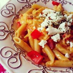 lunch/おうちごはん/ランチ/トマト/チーズ/カッテージチーズ/... チーズパスタ🧀