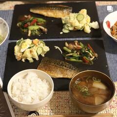 一汁三菜/ポテサラ/ポテトサラダ/さば/スレートプレート/フォロー大歓迎/... 夕ごはん🥢