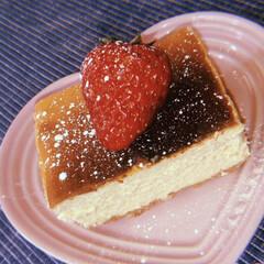cheesecake/ルクルーゼ/home made/sweets/おやつ/スイーツ/... チーズケーキ🍓