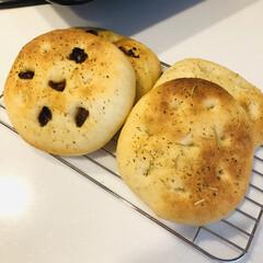 パン作り/フォカッチャ/手づくりパン/家族時間/おうちごはん/ランチ はじめて焼いたフォカッチャ✧︎ ドライト…