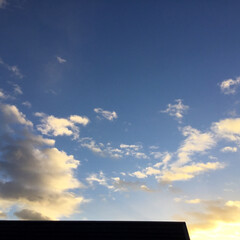 いま空/夕焼け大好き/今日の夕焼け/定位置観測/夕暮れ風景 青空と夕焼け雲