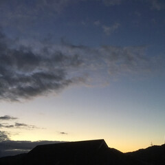 いま空/今日の夕焼け/夕暮れ風景/夕焼け大好き 日没 17:30 今日も一日お疲れ様でし…