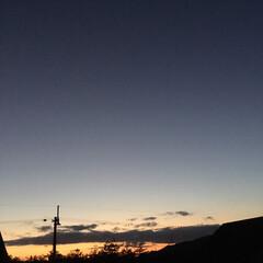 いま空/今日の夕焼け/定点観測/夕焼け大好き/夕暮れ風景 日没 16:57 今日も一日お疲れ様でした