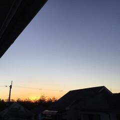 今日の夕景 久しぶりの夕焼け オレンジ色のキラキラが…