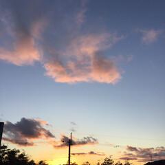 ピンクの雲/定位置観測/夕暮れ風景/夕焼け大好き/いま空/今日の夕焼け 日没 16:51 今日も一日お疲れ様でし…