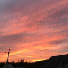 いま空/夕暮れ風景/夕焼け景色 日没 17:56 今日も一日お疲れ様でし…