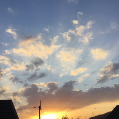 いま空/今日の夕焼け/夕暮れ風景/夕焼け大好き/定点観測 日没 16:59 今日も一日お疲れ様でし…