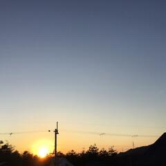 いま空/今日の夕焼け/夕暮れ風景/夕焼け大好き/定位置観測 日没 16:48 今日も一日お疲れ様でし…