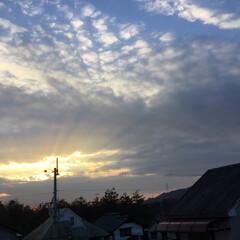 夕暮れ風景/いま空/今日の夕焼け/夕焼け大好き/定位置観察 日没 17:09 今日も一日お疲れ様でし…