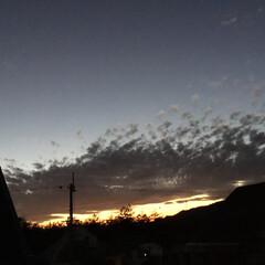 いま空/今日の夕焼け/夕暮れ風景/夕焼け大好き/定点観測 日没 16:50 今日も一日お疲れ様でし…
