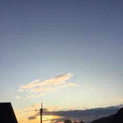 いま空/夕暮れ風景/夕焼け大好き/定点観測 日没 16:55 今日も一日お疲れ様でし…