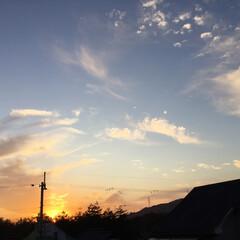 定点観測/いま空/今日の夕焼け/夕暮れ風景/夕焼け大好き 日没 16:54 今日も一日お疲れ様でし…