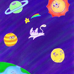 イラスト/ねこ/猫/宇宙/お絵描きコーナー/お絵描き/... 宇宙ネコは、各惑星に咲くお花を食べます。…
