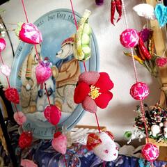 クラフト/手作り/つるし飾り/ちりめん飾り/お正月2020/雑貨/... ちりめんのお正月つるし飾り  豆・椿・う…