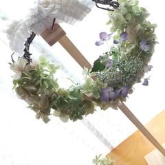 おしゃれ/夏インテリア/季節インテリア ♡ハンドメイド ♡天然素材リース  紫陽…