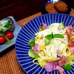 家庭料理/簡単料理 #おうちごはん ♡カルボナーラ  ベーコ…