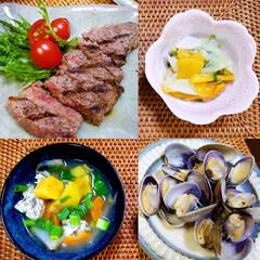 家庭料理/簡単料理/おうちごはん/リミアな暮らし ♡おうちごはん  ♡ステーキ ♡柿なます…